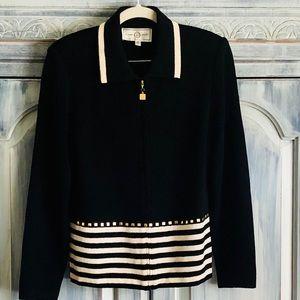 St. John Sport Black and Cream Stripe Zip Cardigan